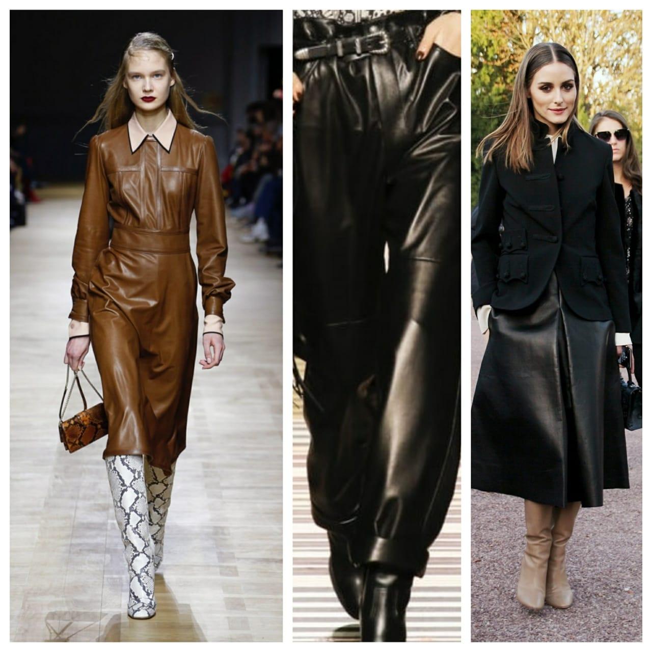 Кожаные платья и юбки 2018